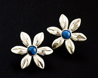 Simple Sterling Silver Flower Earrings with Your Choice of Gemstones