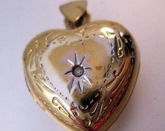 15% OFF SALE Vintage Heart Locket Pendant Sterling Vermeil & Diamond Chip Fine Jewelry Jewellery