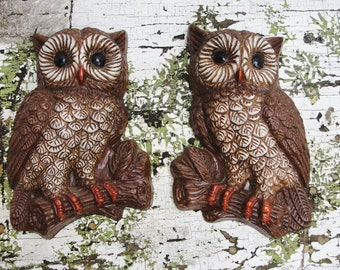 Pair of Owls wall decor kitschy and cute