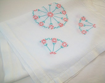 Vintage Embroidered Dresser Scarf or Hand Towel, pink, turquoise, 1950s
