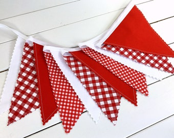 Bunting Banner Photo Prop, Fabric Flags, Barbecue Decoration, Picnic Decor, Garland, Pennant, Baby-Q, Red, White, Gingham, Checkered, Checks