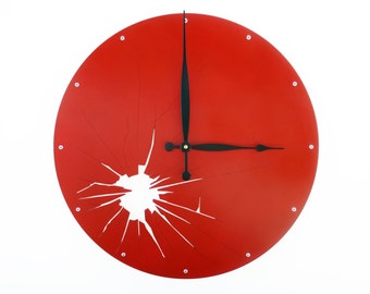 Shattered Metal, Large Wall Clock, Unique Wall Clock, Modern Wall Clock, Steampunk Home Decor, Industrial Art, Big Gift, Laser Cut, Paprika