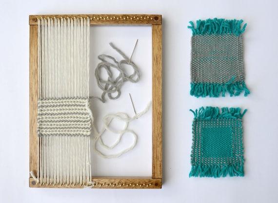 Weaving loom kit beginner level diy gifts oak finish