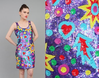 Vintage 80s POP ART Sequin Dress Colorful Geometric Graphic Dress 1980s Deco Trophy Beaded Party Dress Small Medium S M
