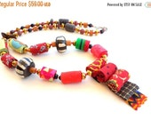 LetsPartySale Colorful Africa fiber necklace, Africa fabric necklace, colorful textile neck-piece, exotic Africa jewelry, necklace, neck-pie