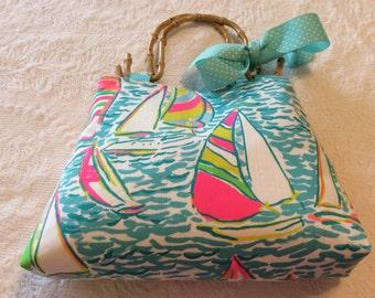 Lilly Regatta  fabric Handmade Tote Bag Purse