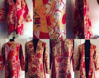Kantha Vintage Textile Coat Size Large