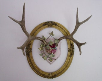 Huge Genuine Antlers, Vintage Needlepoint Roses, Jewelry Hanger, Hat Rack