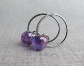 Small Purple Hoop Earrings, Purple Lampwork Earrings, Purple Earrings, Small Wire Hoops, Handmade Wire Earrings, Oxidized Silver Earrings