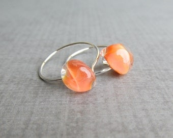 Small Marigold Orange Hoops, Silver Wire Earrings, Small Silver Earrings Hoops, Orange Earrings, Small Hoops Orange, Sterling Silver Hoops