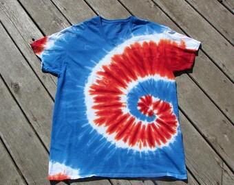 Red, White & Blue (Extra Large) Tye Dye Spiral - Adult V-Neck Undershirt