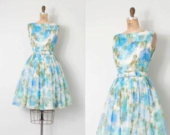 vintage 1950s dress / chiffon floral print 50s dress / Dreamy Days