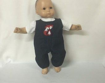 Doll Clothes For Bitty Baby Bitty Boy or Girl Twin or Some Other 15 Inch Dolls Red Fox Denim Overalls and Shirt