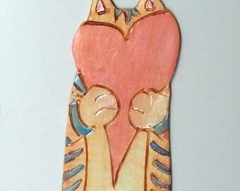 Shy Anon, Cat Art Bookmark.  Original Hand Carved Kitty. Original Polymer Clay Art.