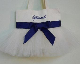 Tutu dance bag, Tutu Tote bag, Embroidered Tote Bag, Ballet tote bag, White Tote Bag with navy Ribbon Tutu Tote Bag TB164 Est