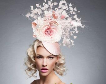 Blush Nude fascinartor , Pink old rose fascinator, Nude derby hat,Kentucky derby Hat, Melbourne cup fascinator