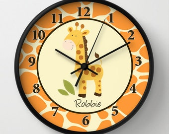 Giraffe Jungle Orange / Yellow / Neutral / Giraffe Print Nursery Wall Clock, Choose Frame Color, Personalization