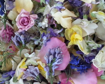 Petal Confetti,  Dried Flower Confetti, Wedding Decorations, Dry Flowers, Wedding, Aisle Decoration, Tossing, Reception Decor, 60 US cups