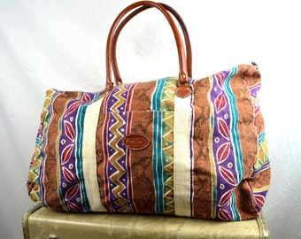 Vintage 80s 90s Gitano Tribal Geometric Weekender Overnight Tote Bag