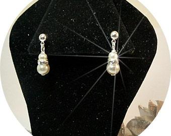 Flower Girl Earrings, Pageant Earrings, Pearl and Rhinestone Earrings, Girls  Dangle Earrings, Kids Jewelry, Little Girl Earrings, Dressy