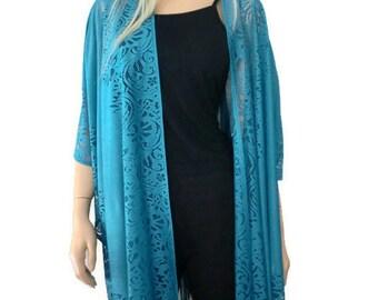 Teal Bohemian Lace Kimono -Teal blue-kimono cardigan-Oversize kimono
