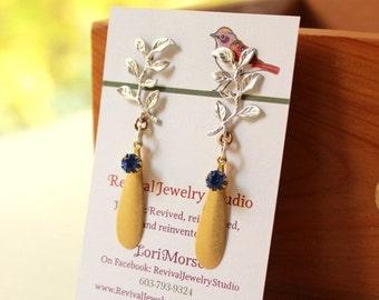 50% off Silver Leaf Earrings - Mixed Metal Earrings - Fall Earrings