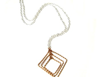 Copper Square Twist Trio Pendant on Sterling Silver Chain - Mother's Day Gift, 7th Anniversary Gift, Gift for Her under 30, Bridal Custom