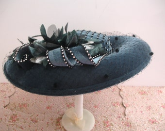 Vintage Hat Blue Saucer Hat Derby Wedding Hat Vintage Ladies Hat Ms Divine