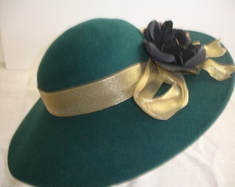 Bollman Hat Doeskin Wool Felt Green Vintage Hat Wide Brim Cloche Winter Hat