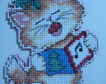 Cross Stitched MERRY CHRISTMAS KITTIE #6 Ornament
