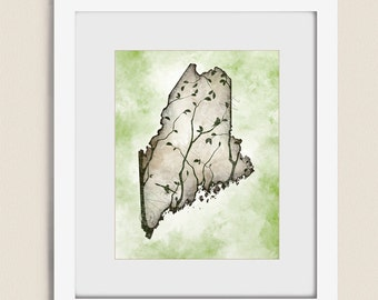 Maine Wall Art  11 x 14 Print, Tree Art, Green Home Decor, Maine State Art, Maine Wall Decor, Maine Art Print (293)