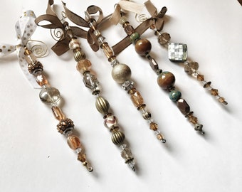 Gold bead ornaments, set of 4