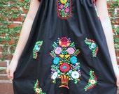 Private listing Black  and Multi colored embroidery Puebla Dress
