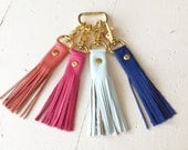 Genuine Leather Fringe Tassel Keychain- Keyfob