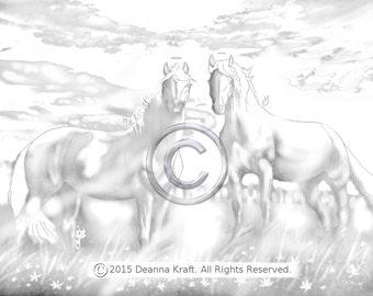 Angels, Horses, Coloring, Page, Horse, Pony, Equine, Pasture, Meadow