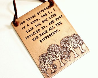 "COPPER WALL PLAQUE - 3"" x 4"", Hand Stamped with Etched Tree Design, Robert Frost Poem, The Road Not Taken, Personalize"