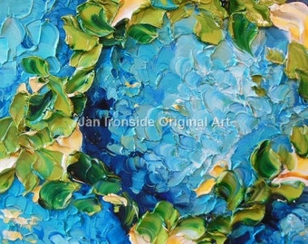 Hydrangea Oil Painting , Shades of Blue and Teal, wall decor home decor