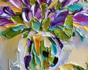 Still life Oil Painting Purple Tulips Impasto Painting Spring