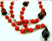 ON SALE - 40% Off Vintage Art Deco Red and Black Beaded Necklace