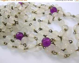30% Off Sale Two Flapper Length Necklaces White and Purple Beads
