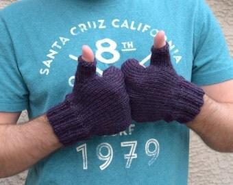 Men's fingerless gloves 100% merino wool plum gift for him men's fashion urban style knit gloves