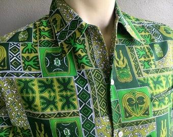 1970s Hawaiian tiki vintage shirt - green size large