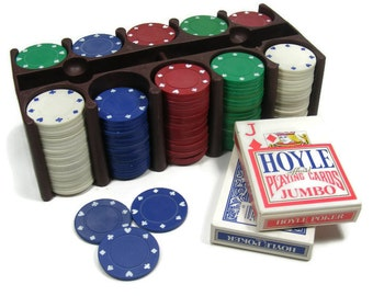 Vintage Poker Chip Set with Rack and Cards