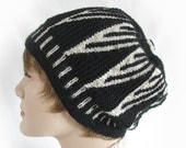 Woman's Black and White Hat Women's Knit Hat Black and White Women's Winter Hat Triangle Knit Hat Hand Knit Hat Black and White Striped Hat