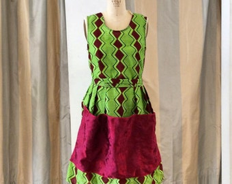Green and Red Diamond Print Pinafore