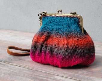 Ombré Rainbow Pouch Clutch Hand knitted with Chain and Leather Strap