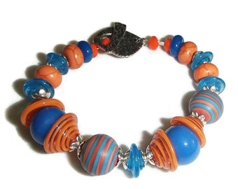 Orange and Blue Lampwork Bracelet Lampwork Beads Artisan OOAK Wahoowa