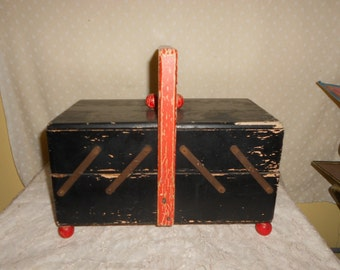 Wooden Sewing Box Accordion fold out