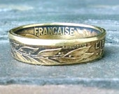 French 20 Centimes Coin Ring - France Coin Ring 1986 - Size: 8
