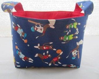 Storage Organizer Basket Bin Container Fabric - Sock Monkey Blue -